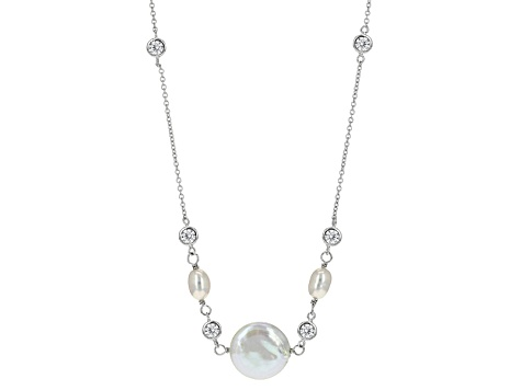 Cultured Freshwater Pearl With Cubic Zirconia Rhodium Over Silver Necklace 5-5.5mm/13-15mm