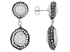 Cultured Freshwater Pearl Rhodium Over Silver Earrings 7.5-14mm