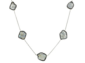 Cultured Freshwater Pearl With Diamond Simulant Silver Necklace 21-29mm