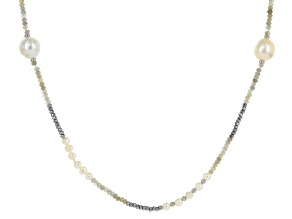 Cultured Freshwater Pearl, Labradorite & Hematine Rhodium Over Silver Necklace 5-15mm