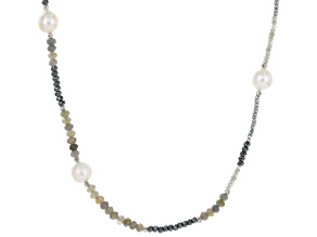Cultured Freshwater Pearl, Labradorite & Hematine Rhodium Over Silver Necklace 13-15mm