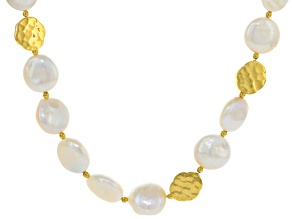 Cultured Freshwater Pearl 18k Yellow Gold Over Silver 13-14mm