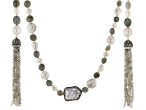 Cultured Freshwater Pearl, Labradorite, Diamond Simulant Necklace 8-26mm