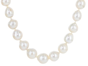 Cultured Freshwater Pearl With Cubic Zirconia Rhodium Over Silver Necklace 11-14mm