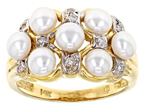 Cultured Freshwater Pearl With Diamond 14k Yellow Gold Ring 4-5mm