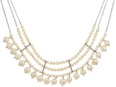 Cultured Freshwater Pearl Rhodium Over Silver Necklace 5-9.5mm