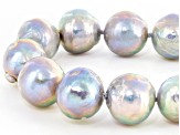 Cultured Freshwater Pearl With Cubic Zirconia Rhodium Over Silver Necklace 13-14mm