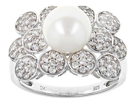 Cultured Freshwater Pearl With Zircon Rhodium Over Silver Ring 8-8.5mm