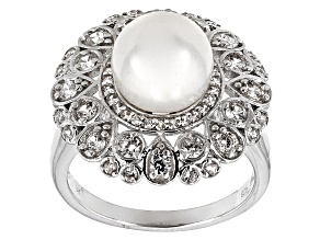 Cultured Freshwater Pearl, Zircon Rhodium Over Silver Ring 9-9.5mm