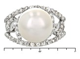 Cultured Freshwater Pearl With Zircon Rhodium Over Silver Ring 12-13mm