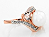 9-9.5mm Cultured Freshwater Pearl With Morganite And Zircon 18k Rose Gold Over Silver Ring