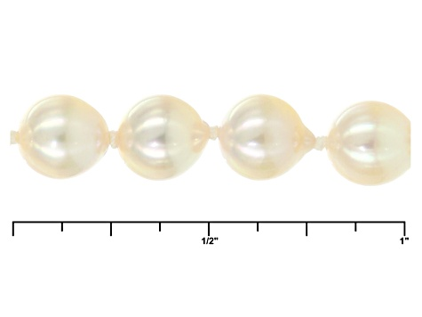 Cultured Japanese Akoya Pearl Necklace 14k Yellow Gold 6.5-7mm