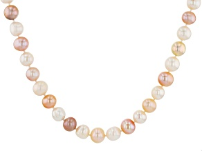 Cultured Freshwater Pearl Rhodium Over Silver Necklace 10-11mm