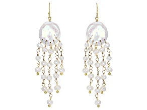 Cultured Freshwater Pearl 18k Yellow Gold Over Silver Earrings 4-17mm