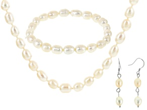 Cultured Freshwater Pearl Rhodium Over Silver Jewelry Set 6.5-7.5mm
