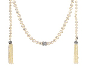 Cultured Freshwater Pearl, Cubic Zirconia Rhodium Over Silver Necklace 3-8mm
