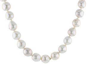 Cultured Freshwater Pearl Rhodium Over Silver Necklace 13-14mm