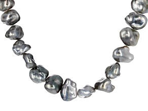 Tahitian Keshi Cultured Pearl Rhodium Over Silver Necklace 6-12mm