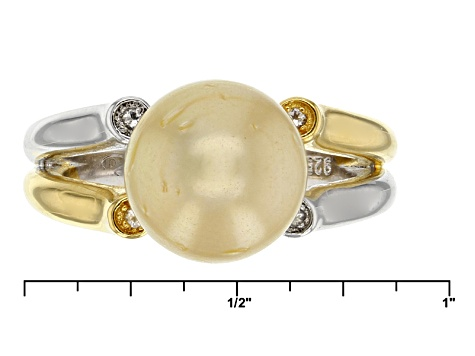 Cultured Golden South Sea Pearl With Topaz Rhodium And 18k Yellow Gold Over Silver Ring 10mm