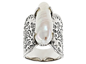White Cultured Freshwater Pearl Rhodium Over Silver Ring 9x26mm