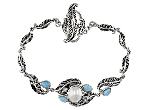 Cultured Freshwater Pearl With Larimar Rhodium Over Silver Bracelet 7x10mm