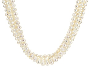 White Cultured Freshwater Pearl Rhodium Over Silver Necklace 5-8mm
