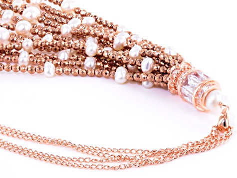 Cultured Freshwater Pearl Cubic Zirconia Hematine 18k Rose Gold Over Silver Necklace 3.5-5.5mm