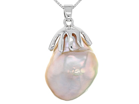 Cultured Freshwater Pearl Rhodium Over Silver Pendant 14-16mm