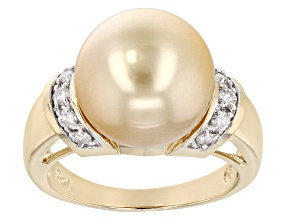 Golden Cultured South Sea Pearl With Diamond 14k Yellow Gold Ring 12mm