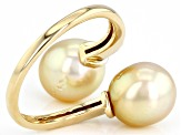 Cultured Golden South Sea Pearl With Diamond 14k Yellow Gold Ring 9mm