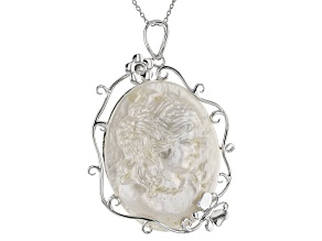 Cultured Mabe Pearl Rhodium Over Silver Cameo Pendant 32x40mm