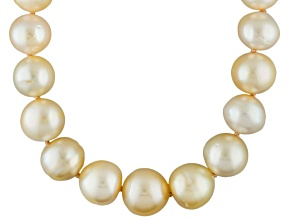 Golden Cultured South Sea Pearl 14k Yellow Gold Necklace 9-11mm