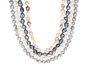 Multicolor Cultured Freshwater Pearl Strand Necklace Set Of 4 8-10mm