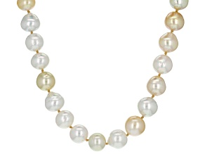 Cultured South Sea Pearl Rhodium Over Sterling Silver Necklace 9-12mm