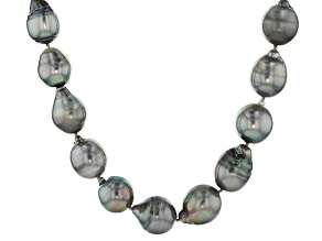 Cultured Tahitian Pearl Rhodium Over Sterling Silver Necklace 12-15mm