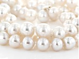 Cultured South Sea Pearl Rhodium Over Sterling Silver Necklace 8-11mm