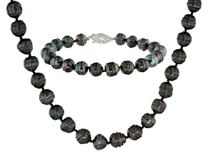 Cultured Tahitian Pearl Rhodium Over Sterling Silver Necklace & Bracelet Set 8-11mm
