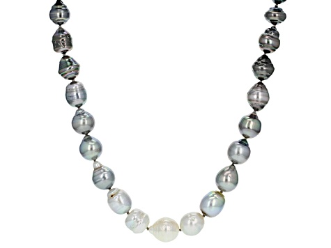 Cultured Tahitian Pearl & South Sea Pearl Rhodium Over Sterling Silver Necklace 8-12mm