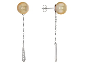 Cultured South Sea Pearl With Topaz Rhodium Over Sterling Silver Earrings 10mm-11mm