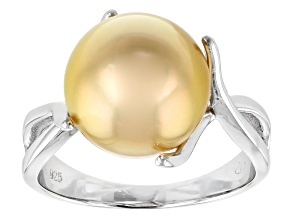 Cultured South Sea Pearl Rhodium Over Sterling Silver Ring 11-12mm