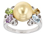 Cultured South Sea Pearl With Multigem Rhodium Over Sterling Silver Ring 9-10mm
