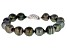 Cultured Tahitian Pearl Rhodium Over Sterling Silver Bracelet 10-12mm
