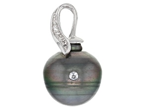 Cultured Tahitian Pearl With Topaz Rhodium Over Sterling Silver Pendant 12-13mm