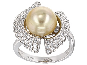 Cultured South Sea Pearl With Zircon Rhodium Over Sterling Silver Ring 10mm