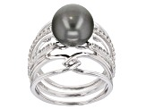 Cultured Tahitian Pearl With Zircon Rhodium Over Sterling Silver Ring 10mm