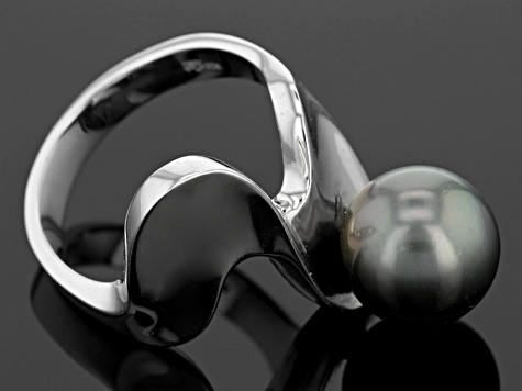 Cultured Tahitian Pearl Rhodium Over Sterling Silver Ring 10mm