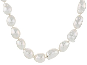 Cultured Freshwater Pearl Rhodium Over Silver Necklace 11-13mm