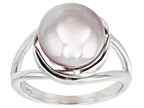 Lavender Cultured Kasumiga Pearl Rhodium Over Silver Ring 10.75-12mm
