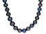 Black Cultured Freshwater Pearl Rhodium Over Sterling Silver Necklace 12-13mm