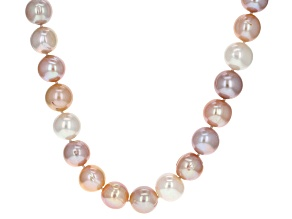 Multicolor Cultured Freshwater Pearl Rhodium Over Sterling Silver Necklace 12-13mm